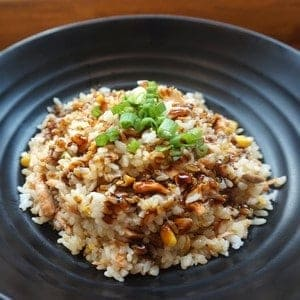 brown rice with sauce
