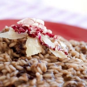 red wine risotto with chorizo (Recipe)