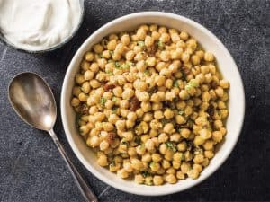Braised Chickpeas with Saffron and Mint (Recipe)