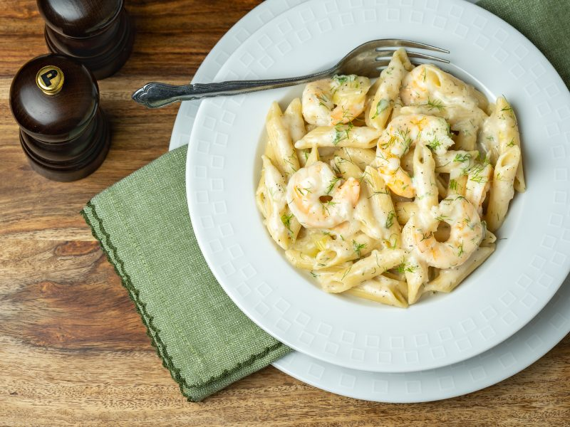 CREAMY FENNEL AND SHRIMP PENNE PASTA