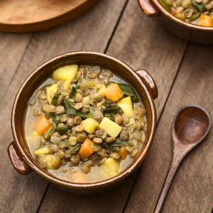 Stewed Lentils with Potatoes & Spinach