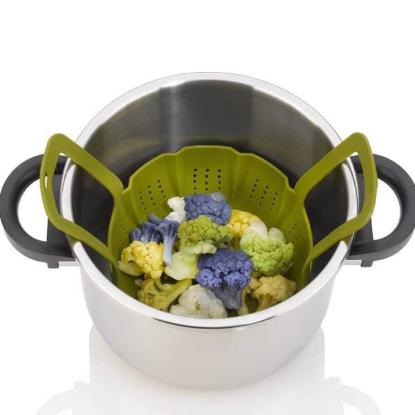 ZACMISB22 Silicone Steamer Basket inside pressure cooker