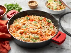 6qt saute pan lifestyle - red grips